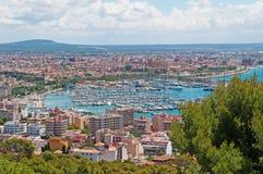 Mallorca, Majorca, Balearic Islands, Spain, Palma, skyline, port, harbor, Mediterranean Sea. The city of Palma seen from Bellver Castle on June 11, 2012. Palma Stock Photos