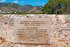 Palma, Mallorca, Majorca, Balearic Islands, Spain, plaque, sign, Believer Castle, castle, gothic, architecture. The commemorative plaque of Bellver Castle on Stock Photo