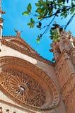 Palma, Mallorca, Majorca, Balearic Islands, Spain, La Seu, cathedral, church, decoration, Saint Mary, rose window. The exterior details of La Seu in Palma de Royalty Free Stock Image