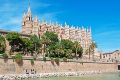 Mallorca, Majorca, Balearic Islands, Spain. La Seu and the lake of Parc de la mar in Palma de Mallorca on June 11, 2012. La Seu is the Cathedral of Santa Maria Stock Image