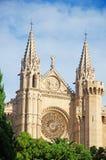 Palma, Mallorca, Majorca, Balearic Islands, Spain, La Seu, cathedral, church, Saint Mary, park, skyline, palm, tree. La Seu in Palma de Mallorca on June 11, 2012 Royalty Free Stock Images