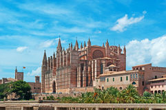 Palma, Mallorca, Majorca, Balearic Islands, Spain, La Seu, cathedral, church, Saint Mary, park, skyline, palm, tree. La Seu and Parc de la mar in Palma de Stock Image