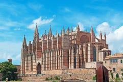 Palma, Mallorca, Majorca, Balearic Islands, Spain, La Seu, cathedral, church, Saint Mary, park, skyline, palm, tree. La Seu and Parc de la mar in Palma de Stock Photos
