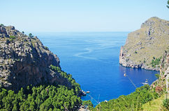 Mallorca, Majorca, Balearic Islands, Spain, Mediterranean Sea, cove, bay, nature, landscape, secret place, desert, beach. Panoramic view along the winding road Royalty Free Stock Photos