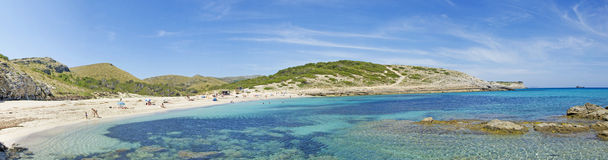 Mallorca, Majorca, Balearic Islands, Spain, landscape, nature, beach,. Panoramic view of Cala Torta on June 6, 2012. Cala Torta is one of the uncrowded beaches Stock Images