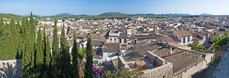 Mallorca, Majorca, Balearic Islands, Spain, Arta, skyline, perched, roof, green, old city royalty free stock photos