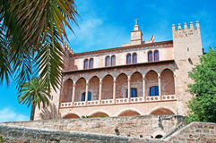 Palma, Mallorca, Majorca, Balearic Islands, Spain, royal palace, Almudaina, architecture, palm, tree, fort, La Almudaina, skyline. The Royal Palace of La Royalty Free Stock Photos