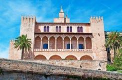 Palma, Mallorca, Majorca, Balearic Islands, Spain, royal palace, Almudaina, architecture, palm, tree, fort, La Almudaina, skyline. The Royal Palace of La Royalty Free Stock Images
