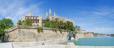 Mallorca, Majorca, Balearic Islands, Spain. The Royal Palace of La Almudaina, La Seu and the lake of Parc de la mar in Palma on June 11, 2012. La Almudaina is a Stock Image