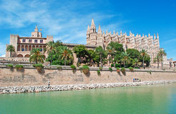 Mallorca, Majorca, Balearic Islands, Spain. The Royal Palace of La Almudaina, La Seu and the lake of Parc de la mar in Palma on June 11, 2012. La Almudaina is a Royalty Free Stock Photography