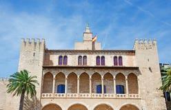 Palma, Mallorca, Majorca, Balearic Islands, Spain, royal palace, Almudaina, architecture, palm, tree, fort, La Almudaina, skyline. The Royal Palace of La Stock Photography