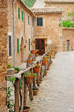 Mallorca, Majorca, Balearic Islands, Spain. The rural town of Valldemossa on June 8, 2012. Valldemossa is one of the prettiest villages in Mallorca: perched on a Royalty Free Stock Photo