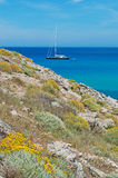 Mallorca, Majorca, Balearic Islands, Spain, Mediterranean Sea, cove, bay, nature, landscape, secret place, desert, beach, sailboat. A sailboat and the Stock Photos