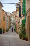 Mallorca, Majorca, Balearic Islands, Spain. A street in the center of Alcudia on June 10, 2012. Alcudia is one of the main tourist centers of the island Royalty Free Stock Photo