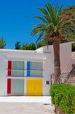 Palma, Mallorca, Majorca, Balearic Islands, Spain, palm, tree, Pilar and Joan Miró Foundation, studio, exterior. The studio Sert of the Pilar and Joan Miró Stock Photo