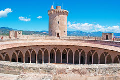 Mallorca, Majorca, Balearic Islands, Spain. The tower of Bellver Castle on June 11, 2012. Bellver Castle, 3 km from Palma, is a Gothic style castle built in the Stock Photos