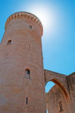 Palma, Mallorca, Majorca, Balearic Islands, Spain, arch, columns, Believer Castle, castle, gothic, architecture. The tower of Bellver Castle on June 11, 2012 Stock Photography