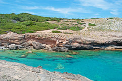 Mallorca, Majorca, Balearic Islands, Spain, Mediterranean Sea, cove, bay, nature, landscape, secret place, desert, beach. View of Cala Estreta on June 6, 2012 Royalty Free Stock Photo