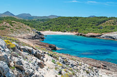 Mallorca, Majorca, Balearic Islands, Spain, Mediterranean Sea, cove, bay, nature, landscape, secret place, desert. View of Cala Estreta on June 6, 2012. Cala Stock Photography