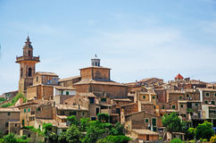 Valldemossa, perched, Mallorca, Majorca, Balearic Islands, Spain, citadel, old town, skyline, architecture, stone, nature, green. A view of the rural town of Royalty Free Stock Photography