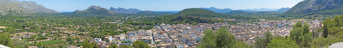 Valldemossa, perched, Mallorca, Majorca, Balearic Islands, Spain, citadel, old town, skyline, architecture, stone, nature, green. A view of the rural town of Royalty Free Stock Images