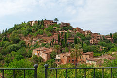 Valldemossa, perched, Mallorca, Majorca, Balearic Islands, Spain, citadel, old town, skyline, architecture, stone. A view of the rural town of Valldemossa on Royalty Free Stock Images