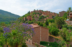 Valldemossa, perched, Mallorca, Majorca, Balearic Islands, Spain, citadel, old town, skyline, architecture, stone. A view of the rural town of Valldemossa on Stock Image
