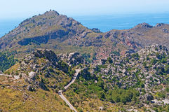 Mallorca, Majorca, Balearic Islands, Spain, Mediterranean Sea, cove, bay, nature, landscape, secret place, desert, winding road. The winding road leading in Cala Stock Image