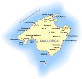 Mallorca map Royalty Free Stock Photography