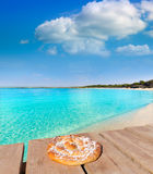 Mallorca Marques beach Es Trenc Estany Estanque. Beach in Balearic ensaimada photo mount Stock Photos