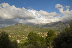 Mallorca mountain view. Mountain view with beautiful clouds Stock Images
