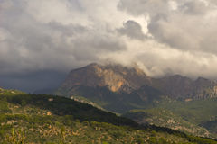 Mallorca mountain view. Mountain view with beautiful clouds Stock Photo