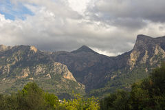 Mallorca mountain view. Mountain view with beautiful clouds Royalty Free Stock Images