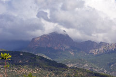 Mallorca mountain view. Mountain view with beautiful clouds Royalty Free Stock Photo