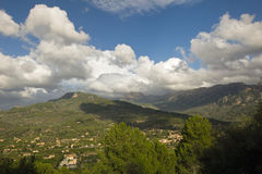 Mallorca mountain view. Mountain view with beautiful clouds Stock Photos