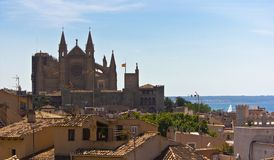 Mallorca Panoramic. Panoramic of Mallorca, with the cathedral and the sea in the background Royalty Free Stock Photos