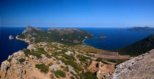 Mallorca panoramic day. Pano  coast of Mallorca in spain daytime landscape Stock Photos