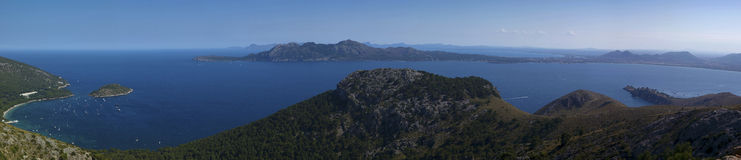 Mallorca panoramic. Pano landscape coast of Mallorca in spain Royalty Free Stock Photography