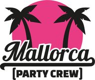 Mallorca party crew with palms. Vector Stock Image