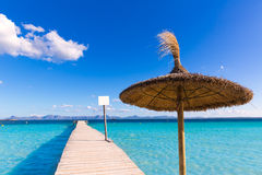 Mallorca Platja de Alcudia beach pier in Majorca. Balearic islands Royalty Free Stock Image