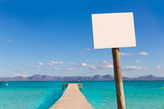 Mallorca Platja de Alcudia beach pier in Majorca Royalty Free Stock Photography