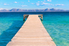 Mallorca Platja de Alcudia beach pier in Majorca. Balearic islands Royalty Free Stock Photography