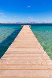 Mallorca Platja de Alcudia beach pier in Majorca Stock Photos