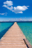 Mallorca Platja de Alcudia beach pier in Majorca. Balearic islands Stock Image