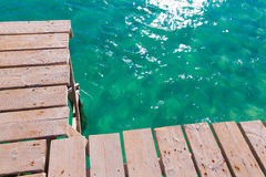 Mallorca Platja de Alcudia beach pier in Majorca. Balearic islands Royalty Free Stock Photography