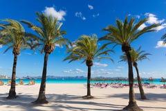 Mallorca Platja de Alcudia strand i Majorca Arkivfoto