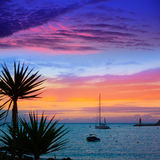 Mallorca port de Andratx sunset in Mallorca. At Balearic islands of spain Royalty Free Stock Images
