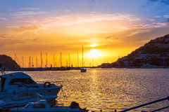 Mallorca port de Andratx sunset in Mallorca. At Balearic islands of spain Royalty Free Stock Photography