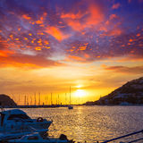 Mallorca port de Andratx sunset in Mallorca. At Balearic islands of spain Royalty Free Stock Photos