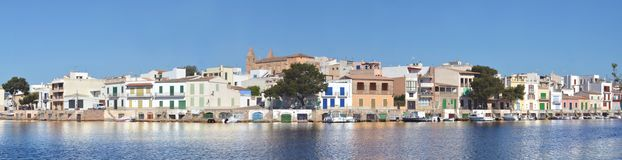 Mallorca, Porto Colom. Als panorama. . Mallorca marina with boats, fishermen village in Porto Colom. Mallorca, Balearic islands, Spain. Mallorca Stock Photo